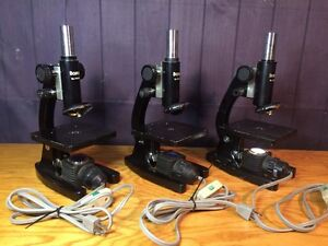 3 Vintage Boreal Microscopes With Working Light Sources
