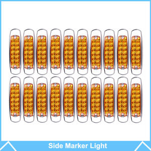 20pcs Amber Side Marker Light Clearance 12 Led Truck Trailer For Peterbilt 12v