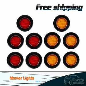 10x 2 Round Side Marker Clearance Light Trailer Amber Red 9 Led 12v Waterproof