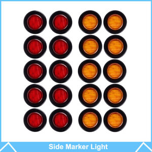 20x 2 Amber red 9 Led Round Side Marker Clearance Light Trailer 12v Waterproof
