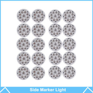 20pcs 2 Round Led Marker Light Clear amber 9led With Flower Shape Trailer Light