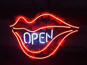 Open Lips Neon Sign Light Beer Bar Pub Store Wall Decor Visual Artwork17 x14