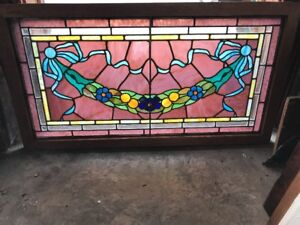Sg 1991 Antique Flower Swag Ribbon Beveled Stained Glass Window 22 5 X 42