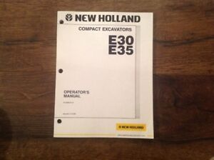 Nh New Holland E30 E35 Compact Excavator Owner Operator User Manual Free Ship