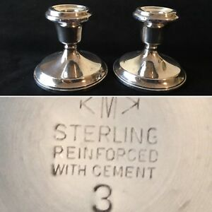 Vintage Pair Of Sterling Silver Candlesticks Reinforced W Cement Kmk