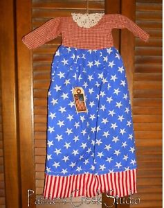 Primitive Americana Stars Stripes Flag Dress Grungy Decor Patriotic July 4th