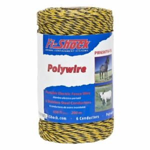 Fi shock Electric Fence Poly Wire Shock Stainless Steel Lightweight Yellow Wire