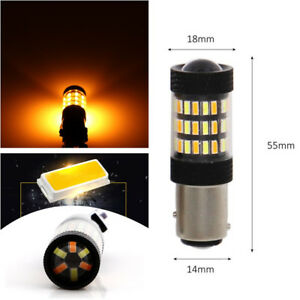 2x High Power 1157 Dual Color Switchback White Amber Led Signal Bulbs 60smd 4014