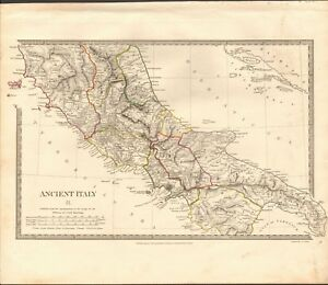 1830 Antique Map Sduk Ancient Italy Ii South Central