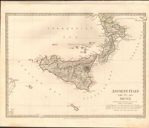 1830 Antique Map Sduk Ancient Italy Iii South And Sicily Malta