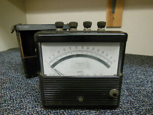 Vintage Weston Model 904 Ac Voltmeter With Leather Case As Is Steampunk