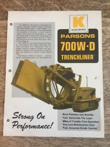 Vintage Koehring Parsons 700w d Trenchliner Brochure Specifications Sheet Ad