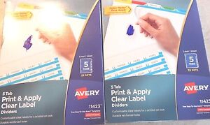 Lot 2 Boxes Avery Index Maker Clear Label Tab Divider 11423 New 50 Sets