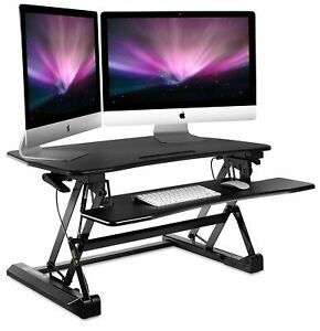 Mount it Sit Stand Desk Converter With Keyboard Tray 35 Wide For Dual Monitors