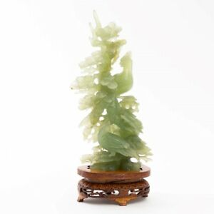 Vintage Chinese Carved Green Jade Statue Birds In Tree Sculpture 9 5 Wood Stand