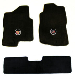 New Black Floor Mats 2007 2013 Cadillac Escalade Ext Official Crest Logo Set