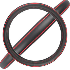 Acdelco Smooth Synthetic Leather Steering Wheel Cover Red Stitching Accent