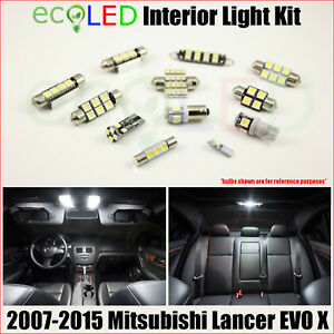 Fits 2007 2015 Mitsubishi Lancer Evo X White Led Interior Light Package Kit 6 Pc