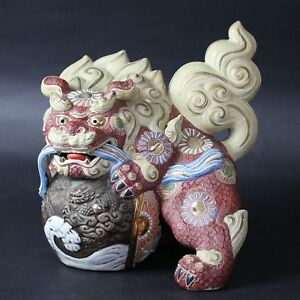 Antiques Japanese Big 10 5 Kutani Foo Dog Lion Shishi Statue From Japan A621