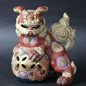 Antiques Japanese Kutani Foo Dog Lion Shishi Statue From Japan A622