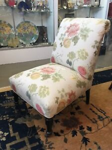Late Victorian Slipper Chair With Vintage Scalamandre Floral Upholstery Fabric