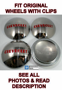 Chevrolet 1 2t Truck Hubcap Set 4 Stainless 1947 1948 1949 1950 1951 1952 1953