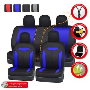 Car Pass Blue Universal Car Seat Covers Full Set Rear Split Bench 46 60 50 50