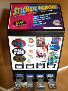 4 Column Sticker Tattoo Bulk Vending Machine With Stand Slot Quarters Coin Op