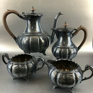 Victorian Plate Silver Plated Vintage Coffee Tea Pots Cream Pitcher