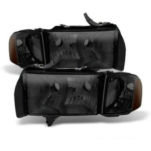 Fit Dodge 99 01 Ram 1500 Sport Model Smoke Tinted Replacement Headlights Pair