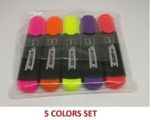 50x Cello Hi lighter 5 Colors yellow Pink Peach Orange Purple bright Ink