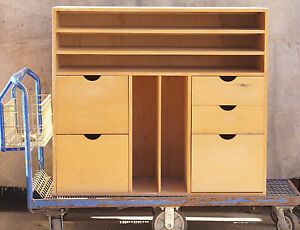 Heavy Wood Storage Cabinet 5 Drawers Great For Artist Platform Truck Cart