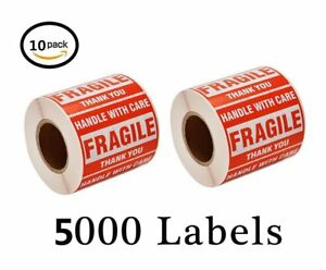 10 Rolls 500 roll Fragile Stickers 2x3 Handle With Care Shipping Mailing Labels