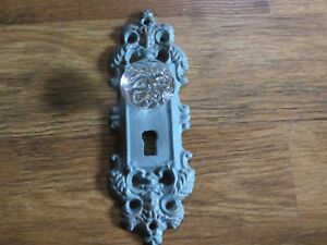 Cast Iron Door Plate Coat Robe Hook Painted Antique Blue With Glass Acrylic Knob