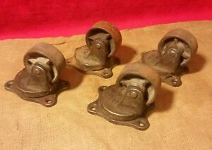4 Payson H 190 Antique Industrial Casters Cast Iron Steel Steampunk Cart Wheels