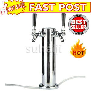Double 2 Tap Stainless Steel Faucet Draft Beer Tower Bar Homebrew For Kegerator
