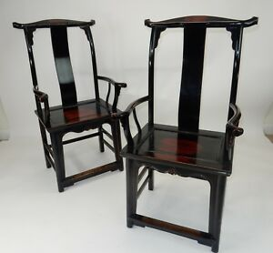 Pair Of Antique Chinese Black Lacquer Yoke Back Chairs Ca 1860