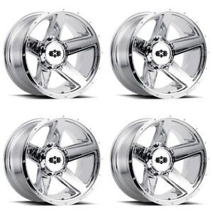 Set 4 20 Vision 390 Empire Chrome Wheels 20x11 5 6x6 5 44mm Lifted 6 Lug Truck