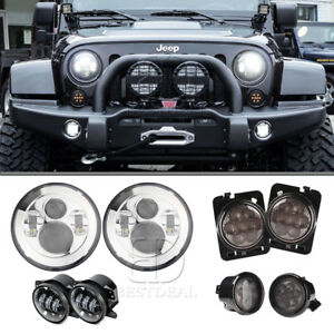 7 Led Cree Headlight 4 Foglight Turn Signal Fender Lamp Jeep Wrangler