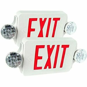 Etoplighting Lighted Exit Signs Packs Of Led Red Emergency Combo With Battery
