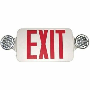 73536 Round Lighted Exit Signs Head Led Combo Emergency Light High Output With