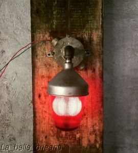 Vintage Industrial Red Glass Red Light Wall Scone Exit Emergency Decor