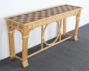 Mcguire Bamboo Console Table Wrapped With Leather Ties