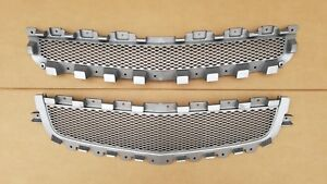 New 2008 2012 Malibu Front Bumper Upper Center Silver Grille Insert Set Pair