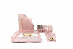 Pink Desk Organizer 5 Piece Accessories Set Letter Mail Sticky Note Holder Tray