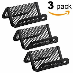 Metal Mesh Business Card Holder For Desk Office Pack Of 3