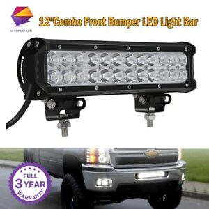 12 Combo Front Bumper Led Light Bar For 2007 2013chevy Silverado 1500 Gmc Sierra