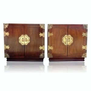 Vtg Pair Henredon Pan Asian Chests End Tables Nightstands Chinoiserie Mont Style