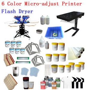 6 Color Screen Printing Press Hobby Kit With Flash Dryer Chemical Hand Tools
