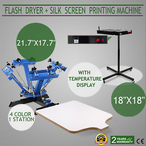 4 Color Screen Printing Press Kit Machine 1 Station Silk Screening Flash Dryer